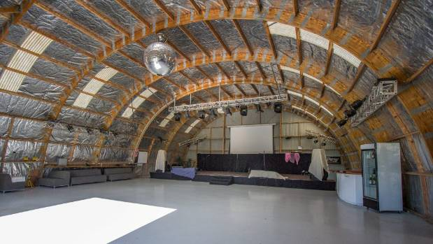 The converted hangar dubbed the 'Springhill disco'.