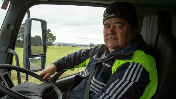 Mainfreight contract driver Marsh Graham at the controls of his rig, about to take on the Saddle Rd.