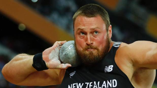 New Zealand's Tom Walsh in action during the men's shot put final in London on Monday (NZT).