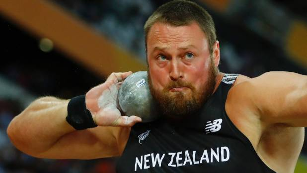 Tom Walsh throws in the men's shot put final in London.