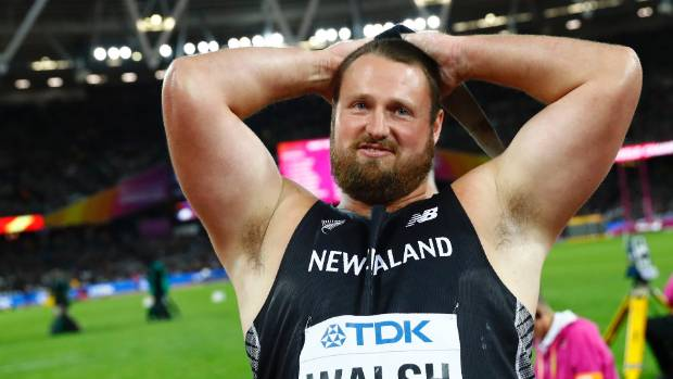 Tom Walsh of New Zealand celebrates winning gold.