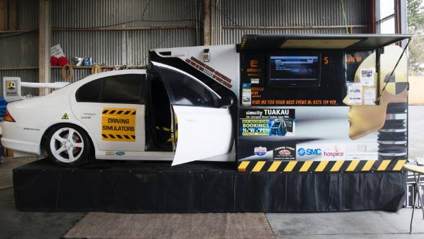 SimSity is a racing car simulator set up on site at Mercer Airfield for entertaining guests who can pick tracks to race ...