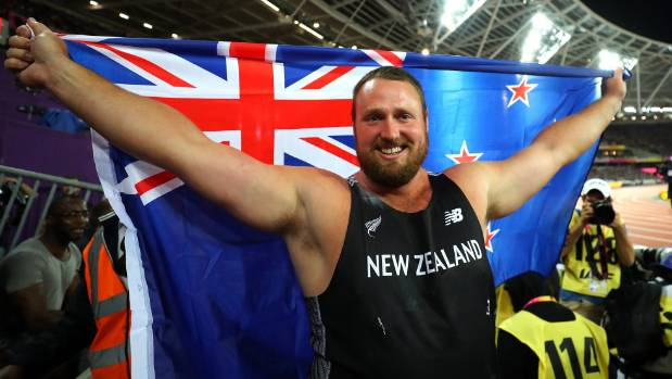 Tom Walsh flies the New Zealand flag in London after his world championship shot put success.
