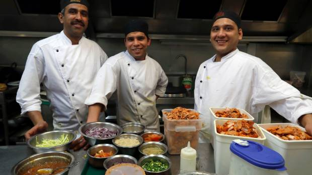 All the dishes made by chefs Chintamani Nautiyal, left, Mukesh Rawat and Gambhir Bagiyal come from family recipes.