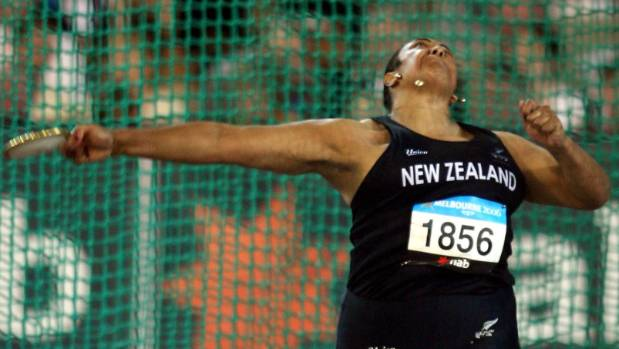 Faumuina takes her final throw at the 2006 Commonwealth Games in Melbourne. She finished fourth, having won gold in the ...