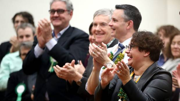 Green Party co-leaders James Shaw and Metiria Turei applaud during the Green Party Auckland Election Campaign Launch on ...