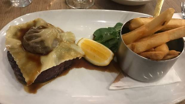 The angus beef topped with oxtail ravioli.