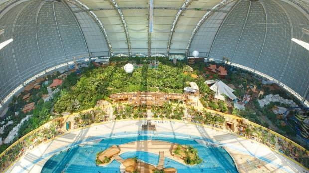 A tropical lagoon in central Germany, housed in a gargantuan greenhouse that also contains the world's largest indoor ...