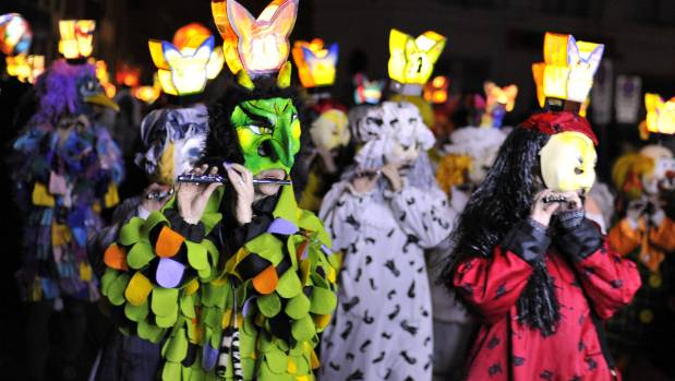 Revellers take part in the 'Morgestraich', which marks the opening of the Basel Fasnacht Carnival.