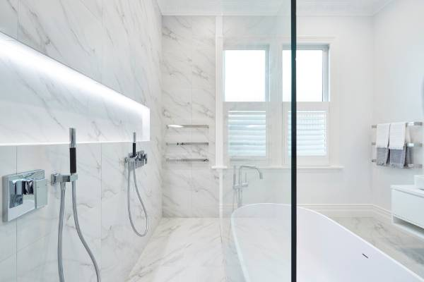 Marble Also Lines The Walls Of This Bathroom By Leuschke Kahn Architects,  Which Won The