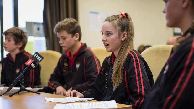Redcliffs School student Mia Cleugh, 13, speaks during a hearing on the land swap.