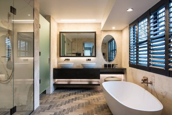 A Freestanding Tub And Herringbone Tiled Floor Feature In This New Bathroom  By Armstrong Interiors