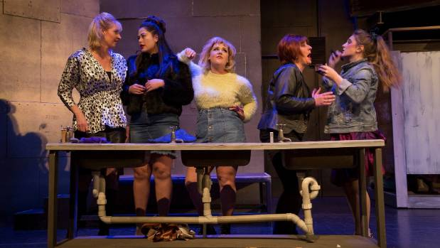 The female members of The Full Monty cast, from left, Julie Davis, Tia Rongokea, Katie Monaghan, Andy Cawood and Sharne ...