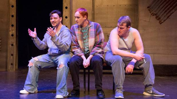 From left, Samuel Gordon, with two of his out-of-work mates played by Hayden Giles and Nick Ross.