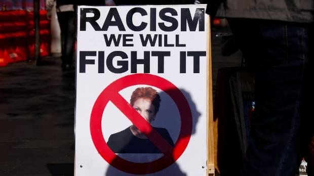 Pauline Hanson is the face of racism at a protest in Sydney in 2016.