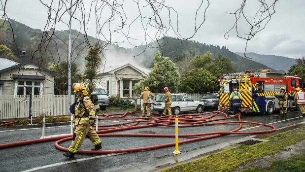 Smoke from the house fire could be seen across Nelson.