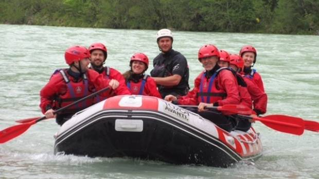 White water rafting on the Emerald River in Slovenia.