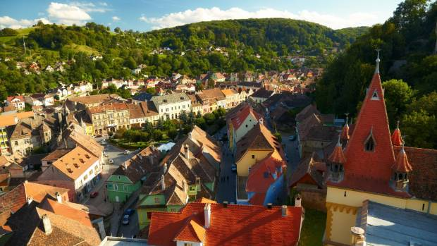 An aerial view of Sighisoara.