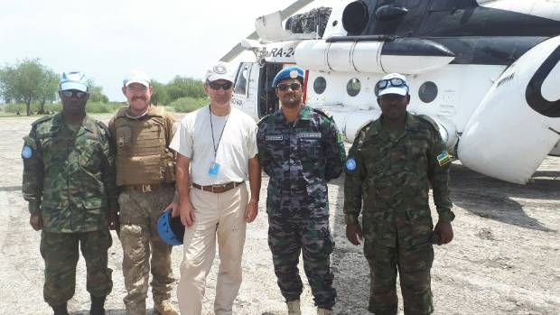 Second from left, Major Kevin Williams is in South Sudan working with the United Nations.