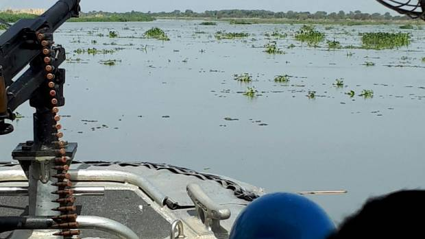 On a river patrol to Kodok town in South Sudan's Upper Nile state.