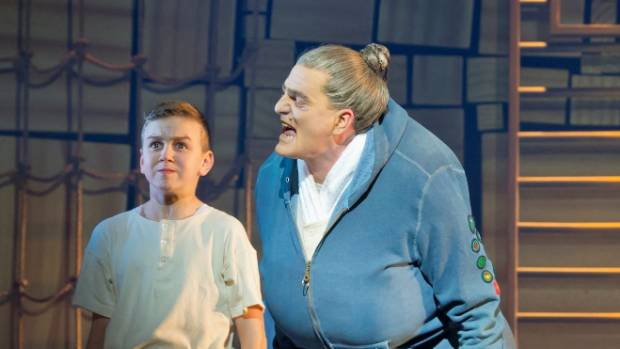 "James Millar, right, plays ""monster"" principal Agatha Trunchbull in Matilda the Musical."