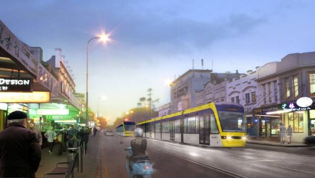 An artist's visualisation of light rail proposed for Auckland by the Labour Party.