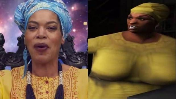 American TV psychic 'Miss Cleo' alongside an image of the character 'Auntie Poulet' from the videogame Grand Theft Auto: ...