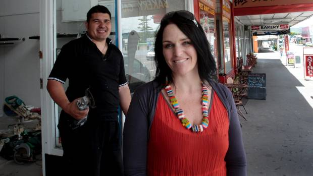 Suzie Johnson and her husband, Kiwi Johnson, when the Woodville shops opened in 2011.