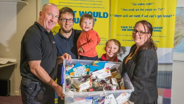 Marlborough Civil Defence emergency services officer Gary Spence, left, thanks Blenheim family, from left, Hemi Jones, ...