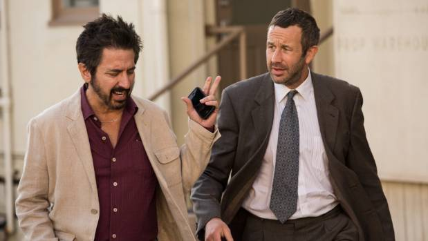 Ray Romano as Rick Moreweather and Chris O'Dowd as Miles Daly in Get Shorty.