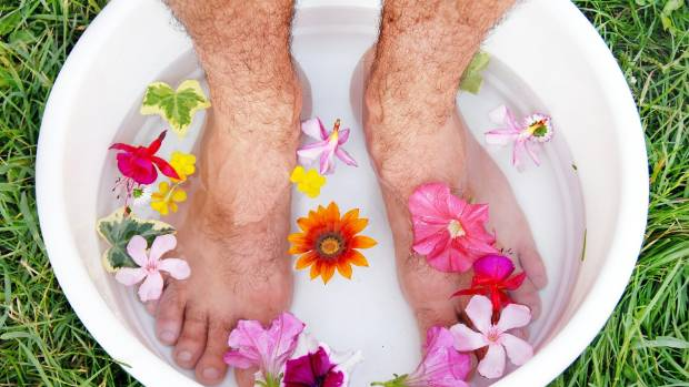 Us men should look after our feet - they work hard for us, day in day out. Maybe just leave out the flower petals...