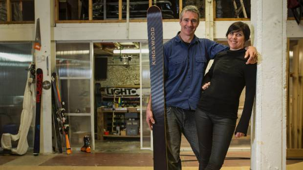 Alex, left, and Kris Herbert live above their Kingswood Skis factory in Lyttelton.