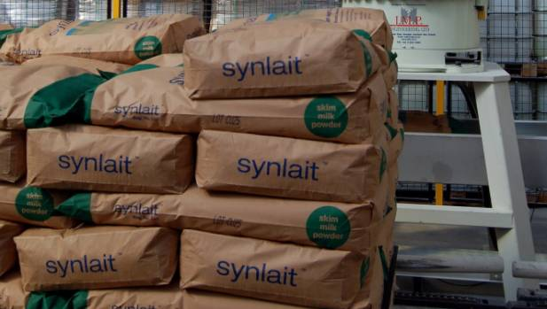 Milk powder being stacked in Synlait's warehouse at Dunsandel.