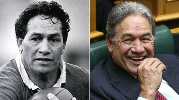 Then and now: Winston Peters pictured at a rugby game in 1988, and in the House in 2017.