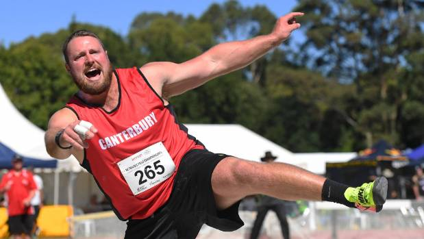 Tom Walsh on his way to winning his eighth national shot put title in Hamilton earlier this year.
