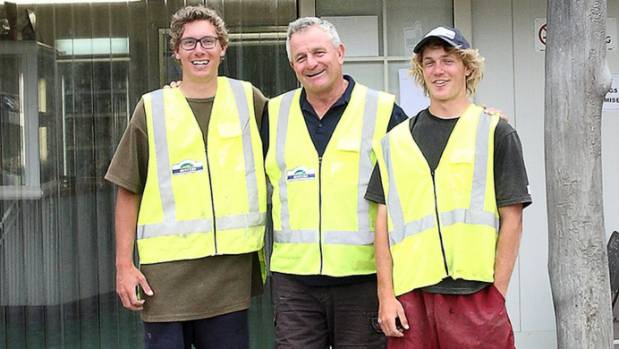 Callum McCallum with his two sons Fraser and Nelson outside Clevedon Coast Oysters. Their story is told in Source New ...