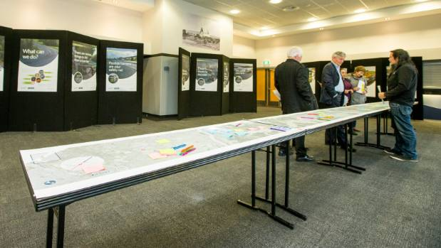 An 8-metre map of State Highway 6 between Blenheim and Nelson allows members of the public to identify problem areas.