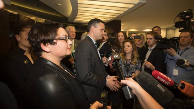 Metiria Turei and James Shaw emerge from a weekly caucus.