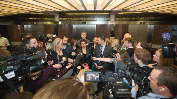 Metiria Turei and James Shaw address media after their caucus meeting.