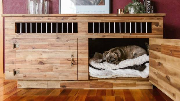 Muggeridge's favourite piece of furniture is the dog house her fiance made inside a hollow wooden cabinet.