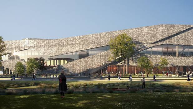 An artist's impression of the Christchurch Convention Centre in the central city.