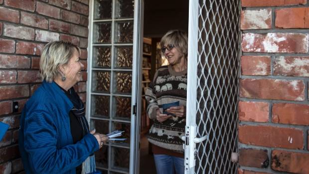 MP Nicky Wagner door-knocking constituent Ruth Caukwell in Redwood.