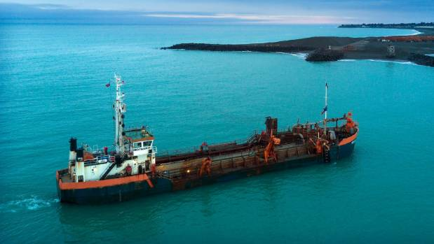 The Pelican Dredge ship is back working at the Timaru Port  after leaving to be scrapped.