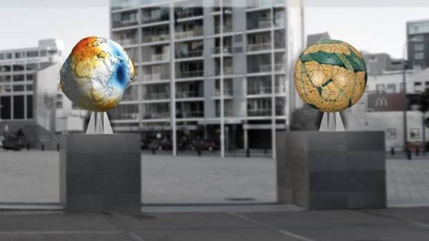 Each of the globes shows a different representation of the world.