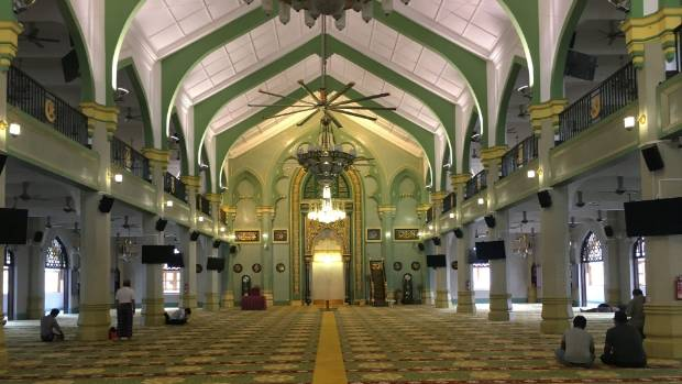 Inside Sultan's Mosque in Kampong Glam.