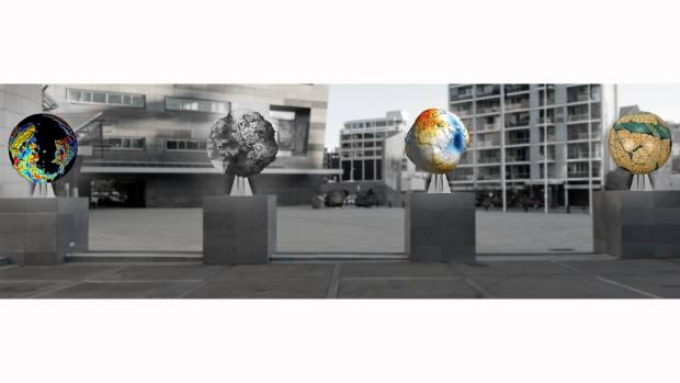 """The Wellington Sculpture Trust selected Auckland-based artist Ruth Watson's """"4 Globes: Telluric Insurgencies Redux"""" for ..."""