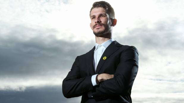 Wellington Phoenix player Dario Vidosic after the unveiling of the club's new logo on Thursday morning.