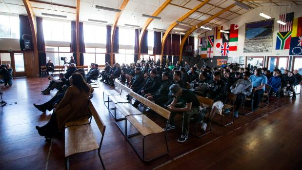 A crowd filled Patea Area School to hear the decision about ironsand mining.