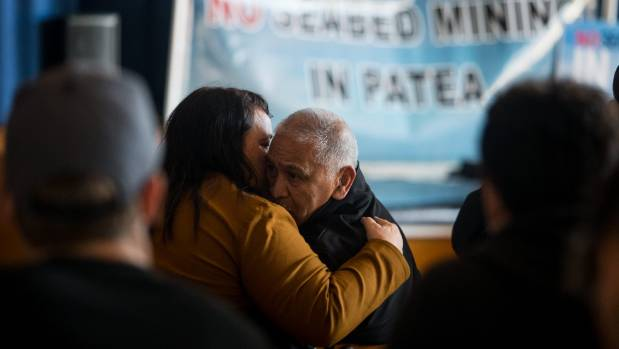 Ngati Ruanui's Hemi Ngarewa and his daughter Debbie Ngarewa-Packer console each other after the decision to allow mining ...