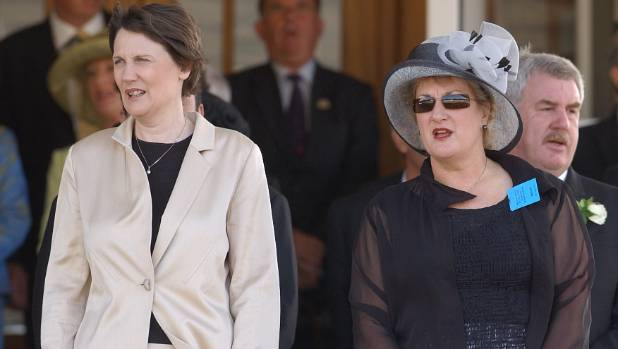 Wellington Cup Day, former prime minister Helen Clark and Annette King in the stands at Trentham Racecourse.